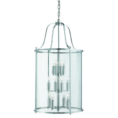 Victorian Lantern, 12 Light Chrome, Clear Glass Panels 30612-12Cc